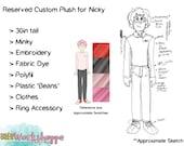 Reserved Custom Plush Listing for Nicky