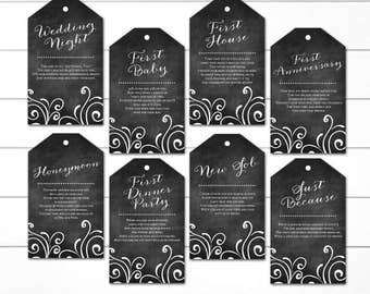 PRINTED, Milestone Wine Tags, Wine Tags for Bridal Shower, Year of Firsts Wine Tags, Gift Basket Bridal Shower, Chalkboard Style