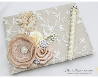 READY TO SHIP Wedding Lace Guest Book Custom Bridal Flower Brooch Guest Books in Ivory and Champagne