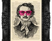 Edgar Poe Print Art, Rose Glasses Decor, Antique Page Print, Gothic Poster, Edgar Allan Poe, Print Vintage Unique Gift, Literary Gift, no.37