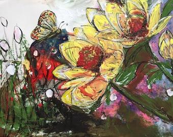 Floral Painting Flowers Butterfly Acrylic Painting Original Artwork Wall Art Beautiful Art Abstracts UK Art Affordable Art Original Art