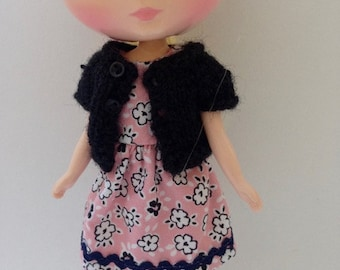 Midde Blythe Tokissi Bunny Doll Pink and White Floral Dress with Matching Black Short Sleeve Cardy