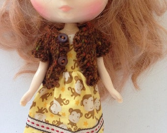 Midde Blythe Tokissi Bunny Doll Cheeky Monkey Dress with Matching Brown Tweed Short Sleeve Cardy