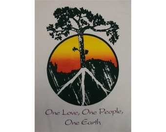 Peace Tree One Love, One People, One Earth Crew T-Shirt