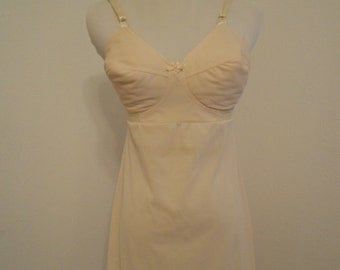 Vintage light tan babydoll slip bullet bra darted cups - Side Unseen hv Nemo