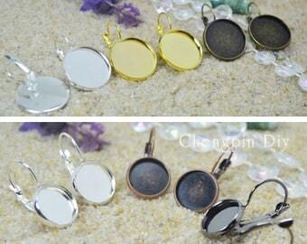 DIY Earring Kits - 16mm Petite Earring Trays ~ Leverback - Blank Bezel Earring Trays ~ 16mm Cabochon Settings