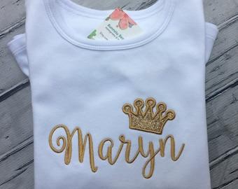 Girls Crown Shirt, Girls Personalized Shirt, Glitzy Girls Shirt.