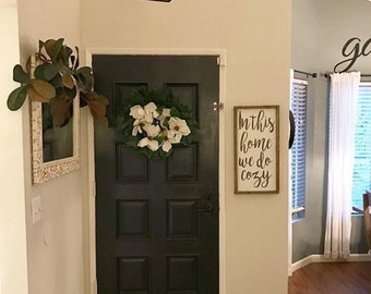 In this home we do cozy - framed wood sign - living room decor, entryway decor, gift for her, housewarming gift, home decor, wall hanging