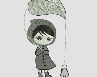 Its Rainy Season!!! Cute Girl with Frog Machine Embroidery Designs - Creative Applique Instant Download Filled Stitches Design 92