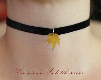 Black Velvet Ribbon with Yellow Lucite Maple Leaf Pendant Choker Necklace, Elegant Black and Yellow Leaf Autumn Ribbon Choker Necklace