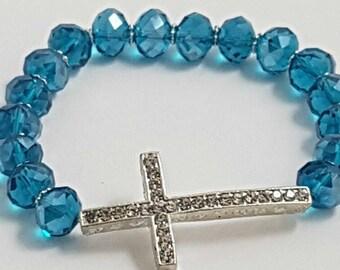 Cross beaded bracelet, Crystal Beaded Bracelet, Charm Bracelet, Gemmed Cross Bracelet