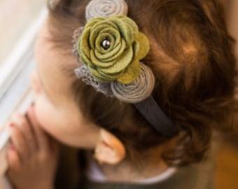 Olive Felt flower headband , Grey Olive Flower headband , Risettes baby headband