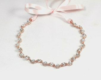 Rose Gold Crystal Wedding Headband - Bridal Headband - Flower Girl Headband - Bridesmaid Headband -  Prom Headband - Wedding Hair Accessory