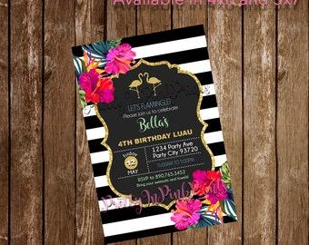 Black and White Flamingo Invitation