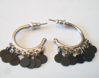 Petite Hoop Earrings Black Dangling Discs Gypsy Boho Costume Jewelry Silver Tone