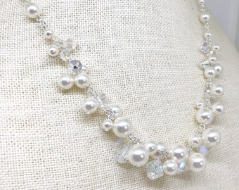 Wedding Pearl and Crystal necklace NL20160