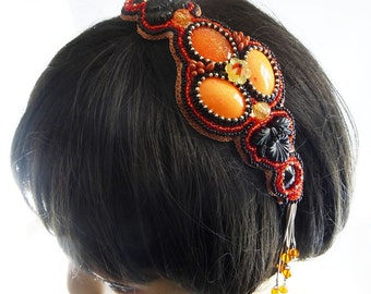 Hairband, hair accessories, hair band, Bead Embroidery, Sun