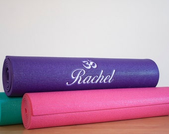 Custom Embroidered Personalized Yoga Mat With Lotus Design