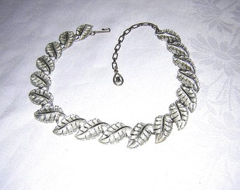 Silver leaves link necklace with extender chain 1950s-60s vintage jewelry mid century price has been reduced 33%