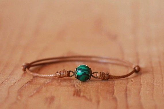 Malachite bracelet,String bracelet,Malachite Tan string Bracelet,Talisman,Amulet bracelet,Protection bracelet,Simple bracelet,Brown bracelet