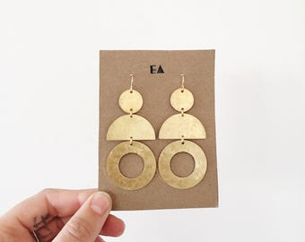 Large hammered brass cut out earrings