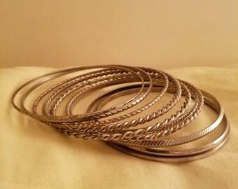 Vintage Set Of 10 Silvertone Metal Stackable Bangle Bracelets
