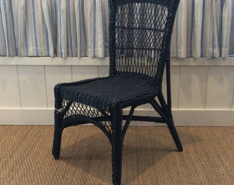 Vintage Blue Wicker Chair