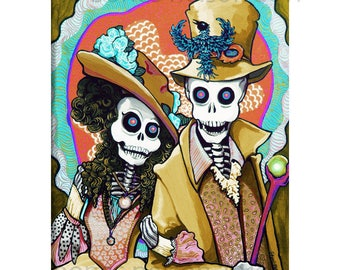Day of the Dead Art Print Charming Couple El Catrin La Catrina Dia de los Muertos wall art by Bones Nelson