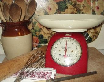 Vintage Red Kitchen Scales, Vintage Waymaster Scales , Vintage Red Scales,