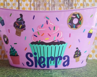 Cupcake Goodies themed Easter Basket, Plastic Storage bin for Toys, Personalized