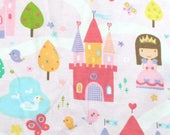 Castles and Princess on Pink Snuggle Flannel Fabric - One Yard - Flannel Fabric by the Yard