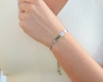 Bolo Bracelet - Custom Engraved Bracelet - Adjustable Bolo Bracelet - Custom Jewelry - Slider Bracelet - ID Bracelet - Personalized Bracelet