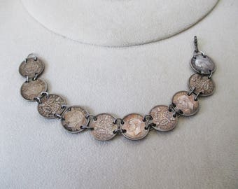 1933 - 1941 - Three Pence silver bracelet - 10 coins in all - Steam punk project made - Estate find!
