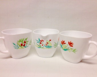 Vintage French Arcopal White/Floral Cups (2), And Creamer, 1960s Collectible Replacements/Made In France/Shabby Chic/Dinnerware