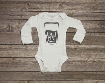 Half Pint Baby Long Sleeve Bodysuit Available in Black, Charcoal, Gray, Navy & Gold