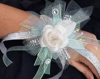 Baby blue mini wrist corsage