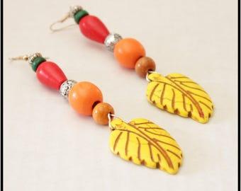 Very long earrings, large statement earrings, colorful earrings, chunky earrings, big bold earrings, dangle beaded earrings
