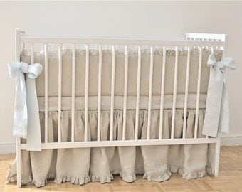 Linen Crib  bedding gender neutral- gathered skirt
