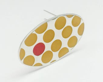 Handmade Sterling silver and resin brooch. Oval brooch. Polka dots. Yellow and red.