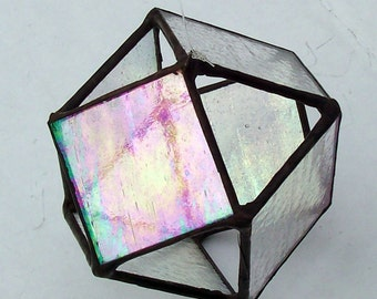 Iridescent Glass Octahedron, Stained Glass Orb, Clear Glass Ball, Cuboctahedron, Crystal, Prism, Polygon, 3-D Hanging Suncatcher, Gift