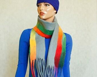 Rainbow - grey scarf Grey shawl felted Scarf felted nunofelt Grey scarf rainbow, Silk and wool scarf, fairytale style