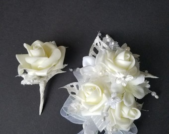 Bridal Corsage and Boutonniere Set / Wedding Shower Corsage