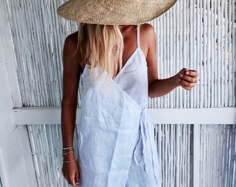 Short Wrap Dress - White Linen Cut-Off Wrap around Dress, Beach Dress, Ladies Fashion