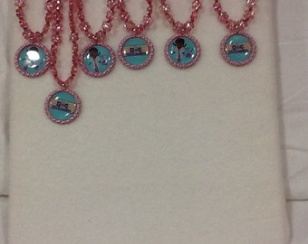 Glassbead Necklaces with Character Charms Set of 6