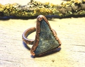 Soladite Ring - Raw Copper Ring - Raw Crystal Ring - Gemstone Ring Size 7 - Electroformed Ring - Copper Ring - Healing Crystal Jewelry