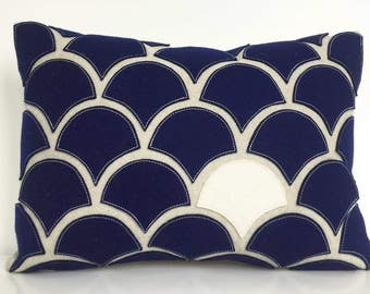 Navy Blue + White Wave Pillow with Wool Felt Applique on Cotton Canvas