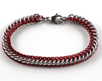 Persian Chainmaille Bracelet   Hand Crafted Chainmaille Jewelry   Handmade Bracelet   Red and Silver   Anodized Aluminum