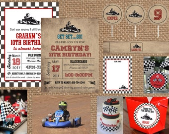 GO KART + RACECAR + Racing // Birthday + Bachelor + Adult + Baby Shower Invitation // Full Service Printing + Coordinating Items