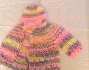 baby girl sweater with hat to match