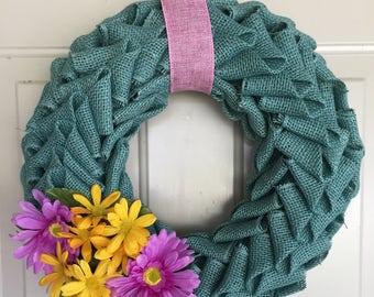 Turquoise Burlap Petal Wreath